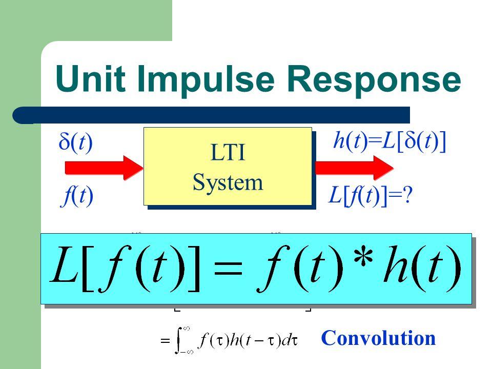 Unit Impulse Response LTI System (t) h(t)=L[(t)] f(t) L[f(t)]=